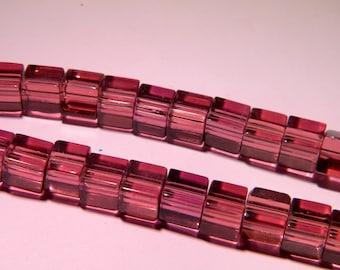translucent glass - 8 mm-purple-PG136 cube 20 beads