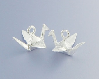2 of 925 Sterling Silver Origami Bird Charms  6x14 mm. Polished Finish. :tm0064