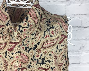 1970's Paisley Print Sleeveless Blouse
