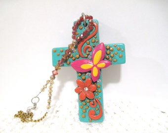 Large Colorful Cross, Rear View Mirror Charm, Free Shipping, Turquoise,  Truck Charm