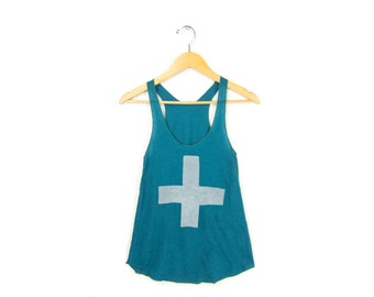 Apothecary Tank - Racerback Scoop Neck Swing Tank Top in Heather Turquoise Green & White - Women's Size XS-2XL