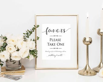 Favors Please Take One- Favors Sign- Printable Wedding Signs- Wedding Signage- Wedding Favor Sign- Reception Signs- Party Favor Sign-