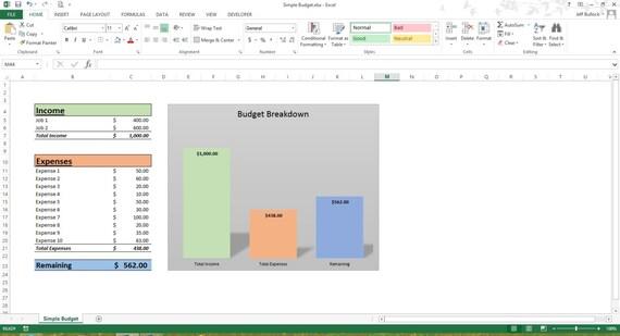 Einfaches Budget Excel-Tabelle-Vorlagen Microsoft Excel