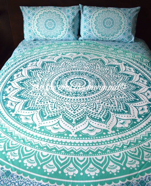Green Ombre Mandala Tapestry Duvet Cover And Pillowcases