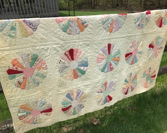 Vintage 1930s Dresden Plate Yellow Quilt 78x65 Fading Wear and Stains