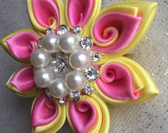 Pink and Yellow Swirly Flower Hair Clip