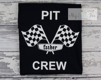 Pit Crew-Race Team-Race Car-Personalized Pit Crew Vinyl Graphic Tee-race car party tee-race car birthday