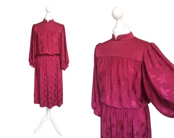 Fuchsia Pink Dress - 1980's Vintage Dress - 80's Dress - Wide Billowing Sleeves - Leaf Print Silky Dress