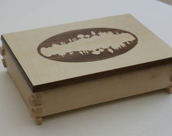 Multi-purpose wooden forest pattern box