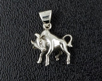 Sterling Silver Taurus Zodiac Pendant Bull Sign, Free Shipping Worldwide!