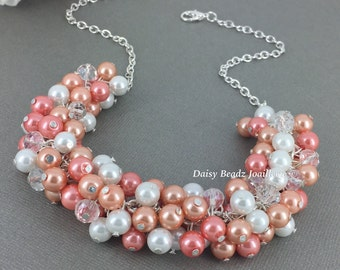Shades of Coral Necklace Pearl Cluster Necklace Coral Necklace Coral Wedding Bridal Gifts Bridal Necklace Coral Jewelry