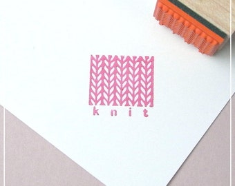 Knit Rubber Stamp, for price tags, for product tags