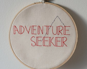 "Father's Day Embroidery Adventure Seeker with Mountain 7.5"" Hoop Ready to Ship"