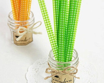 50 Twist Ties - Gingham Check / Green (0.3 x 4.7in)