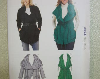 Kwik Sew 3624 Misses size XS to XL jacket and vest