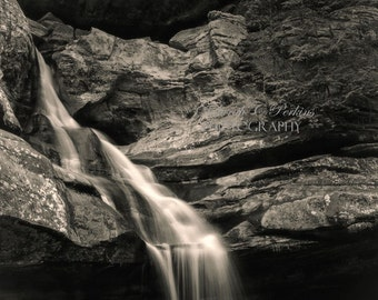 24x36-Waterfall Photograph-Ohio Photography-B&W Wall Art-Fine Art Photography-Living Room Wall Art-Black White Photograph-Nature Photography