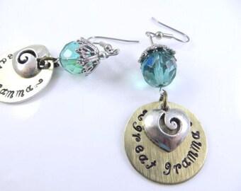 Hand stamped great gramma earrings