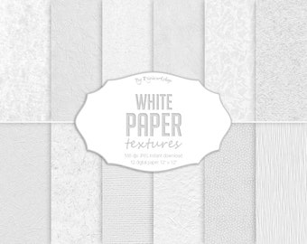 """White Digital Paper: """"White Art Paper"""" digital paper textures and white paper backgrounds in white tones, washi paper, rice paper textures"""