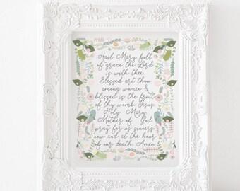 Hail Mary print, Hail Mary printable, Hail Mary Prayer, Virgin Mary print, Marian Print, Catholic printable, catholic print, catholic decor