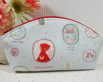 Petal Pouch/  Curved Top Zipper Pouch/ Essential Oil Pouch, Little Red Riding Hood, Little Red Frames by Dear Stella
