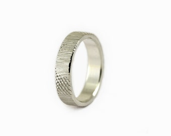 Tree Bark Recycled Silver 5mm Mens Wedding Band, Brushed Comfort fit Wedding Band, Tree Bark Ring in Eco Friendly Sterling Silver