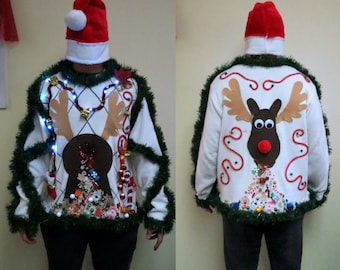 made to order 3-D Pooping Puking Christmas Reindeer Tacky Ugly Christmas Sweater, Light UP sweater,  men's or Womens, Funny Sweater,