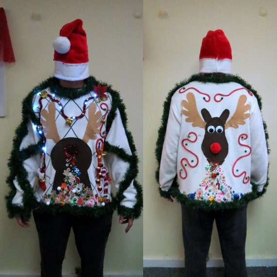 Diy Christmas Tree Sweater: Made To Order 3-D Pooping Puking Christmas Reindeer Tacky Ugly
