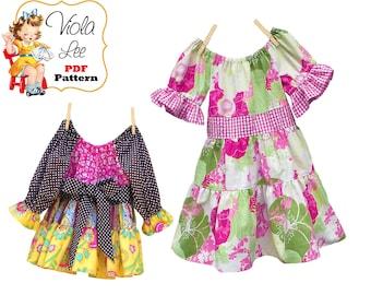 Toddler Dress Pattern. Peasant Dress Pattern, Girls Sewing Pattern, Kids Clothing. Long Sleeve Dress pdf  Pattern. Tutorial Downloan Darlene