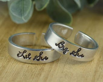 Big Sis OR Lil Sis Adjustable Ring- Hand Stamped Aluminum Sisters Ring- Size 4 5 6 7 8 9 10 11 12 13 14 including half and quarter sizes