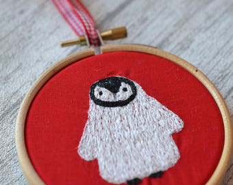 Penguin Embroidery, Penguin Gift, Embroidered Decor, Christmas Embroidery, Festive Penguin, Red Tree Dec, Cute Penguin, Baby Gift