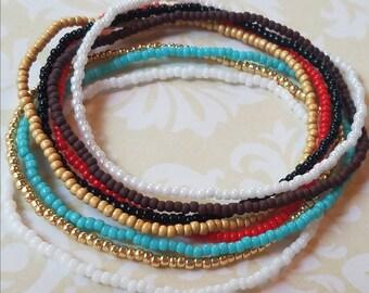 Seed bead bracelet, beaded bracelet, stretch bracelet, beaded jewelry, bracelet set of 8, stretch bracelet set, gold bracelet, boho bracelet