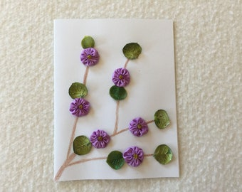 Greeting Card with a Purple Flower Vine Design