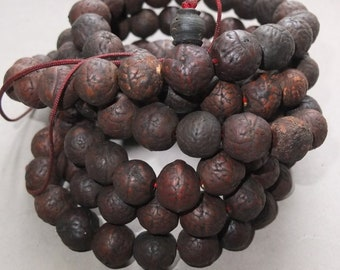 Mala with Bodhi Seed Prayer Beads from Tibet, Buddhist Religious Art, FREE SHIPPING