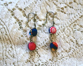 Vtg Cloth Button Dangle Earrings - Silver Hooks