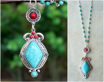 Turquoise Stone Pendant.Long Necklace.Red Coral.Dainty.Silver Chain.Blue.Beaded Necklace.Bridal.Layering.Vintage.Boho.lariat.Gift.Handmade.