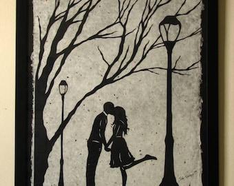 AUTUMN KISS - Large Original Papercut, 27x40, Limited Collectors Edition