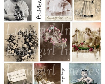 Vintage BABIES digital collage sheet, Children, vintage photos, Victorian images girls boys, pictures cards altered art ephemera DOWNLOAD