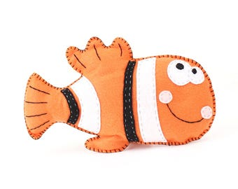 Fish Sewing Pattern, Clown Fish Hand Sewing, Felt Clown Fish Pattern, How to Sew a Felt Clown Fish, Ocean Animal Sewing Pattern, PDF