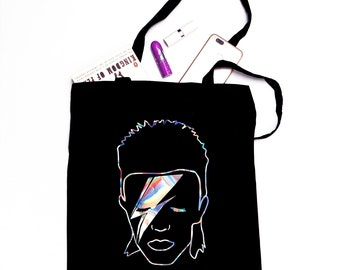 David Bowie Inspired Holographic Iridescent Tote Bag - Ethically Sourced, 100% Cotton - Black Bag Rainbow Funny Aladdin Sane Ziggy Stardust