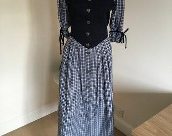 Vintage 1980s Bavarian Landhaus German Style Dress. Dart Blue Bodice. Blue Check Fabric Skirt Half. Size 40. Kurt Bartl