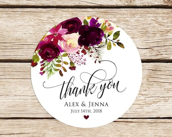 Wedding Stickers, Personalized, Thank You Stickers, Wedding Favor Stickers, Floral Labels, Burgundy, Marsala,  2'' Stickers