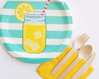 Lemonade Summertime Paper Plates With Utensils and Napkins - Set of 8