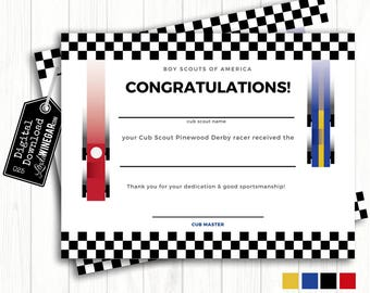 Cub Scout Pinewood Derby Certificate, Blue, Yellow, Red Checkered Race Car | Editable INSTANT Download 8.5x11 JPG & PDF