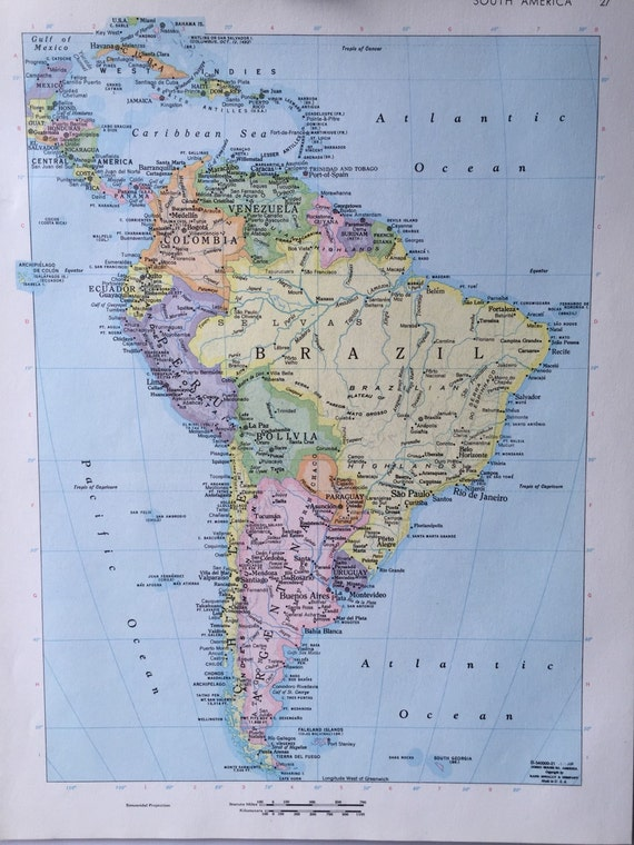 Vintage 1967 rand mcnally world atlas map page south america on one vintage 1967 rand mcnally world atlas map page south america on one side and southern argentina chile on the other side from greenbasics on etsy studio gumiabroncs Gallery