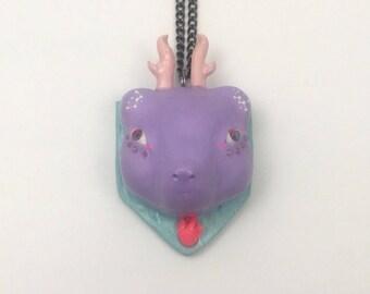 Faux Taxidermy Deer Pendant Dreamy Handmade Unique Necklace