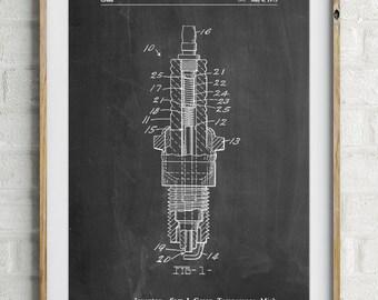 Spark Plug Patent Poster, Car Part Art, Engine Art, Technology Art, Physics Teacher, Automotive Decor, Garage Art, Mens Gift, PP1051