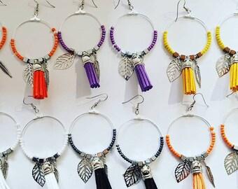 Hoop earrings with beads, hematite, tassel and silver leaves