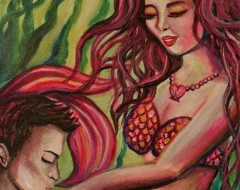 Mermaids in Love (original art)