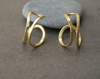 Double hoop earrings, gold hoop earrings, double golden hoops, gold sircle earrings, minimalistic silver hoops, hammered hoops, gift for mom