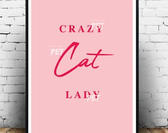 Crazy cat lady poster, Cat print, Cat poster, Cat wall decor, Cat owner gift idea, Cat lover gift, Cat gifts, Crazy cat lady print, Kittens